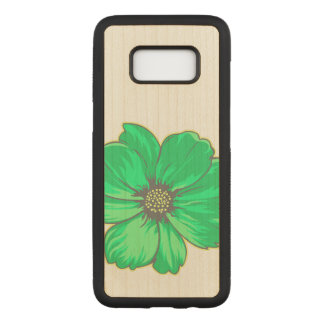 Capa Carved Para Samsung Galaxy S8 Flor artística esverdeado