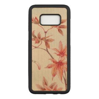 Capa Carved Para Samsung Galaxy S8 Folhas de bordo (impressão do japonês do vintage)