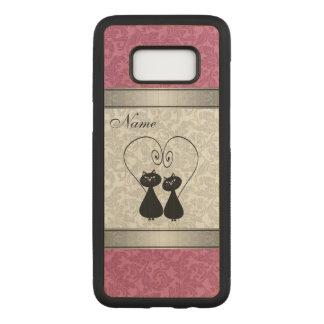 Capa Carved Para Samsung Galaxy S8 Gatos bonitos engraçados no damasco do amor