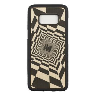 Capa Carved Para Samsung Galaxy S8 Ilusão, monograma ou inicial visual preta & branca