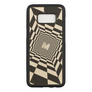 Capa Carved Para Samsung Galaxy S8 Ilusão óptica preta & branca, monograma branco