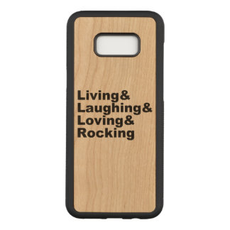 Capa Carved Para Samsung Galaxy S8+ Living&Laughing&Loving&ROCKING (preto)