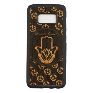 Capa Carved Para Samsung Galaxy S8 Mão dourada de Lotus Hamsa