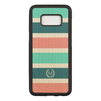 Capa Carved Para Samsung Galaxy S8 Monograma listrado do coral, da turquesa & da