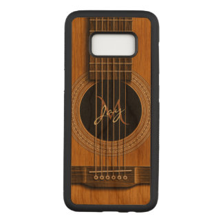 Capa Carved Para Samsung Galaxy S8 Música de madeira natural do monograma da guitarra