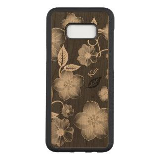 Capa Carved Para Samsung Galaxy S8+ O na moda floresce a caixa de madeira feita sob
