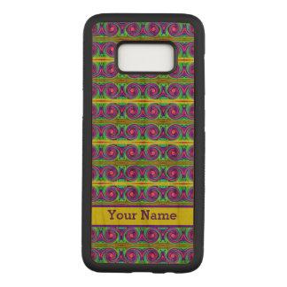 Capa Carved Para Samsung Galaxy S8 O roxo amarelo colorido brilhante ondula o teste