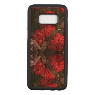 Capa Carved Para Samsung Galaxy S8 O vermelho floresce a caixa da madeira da galáxia