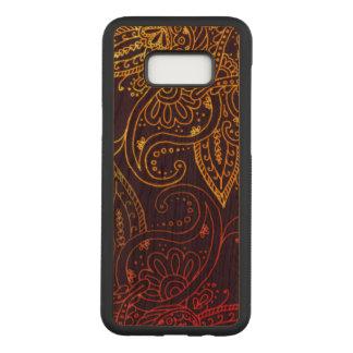 Capa Carved Para Samsung Galaxy S8+ Ouro a Mehndi vermelho na folhosa roxa da cereja