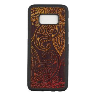 Capa Carved Para Samsung Galaxy S8 Ouro a Mehndi vermelho na folhosa roxa da cereja