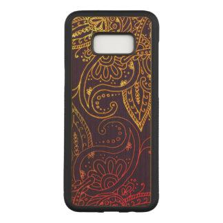 Capa Carved Para Samsung Galaxy S8+ Ouro a Mehndi vermelho na folhosa roxa do bordo