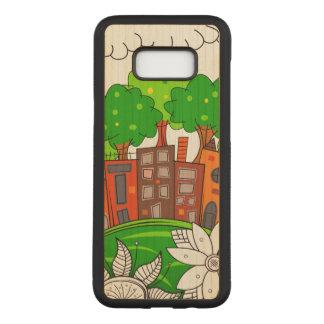 Capa Carved Para Samsung Galaxy S8+ Paisagem colorida da cidade