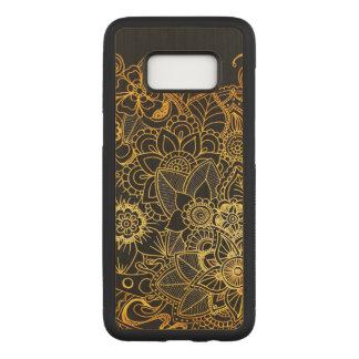 Capa Carved Para Samsung Galaxy S8 S. Ouro floral G523 do Doodle da caixa de madeira