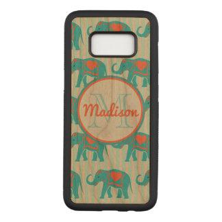 Capa Carved Para Samsung Galaxy S8 Turquesa da cerceta, elefantes azuis, nome das