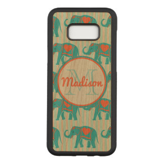 Capa Carved Para Samsung Galaxy S8+ Turquesa da cerceta, elefantes azuis, nome das