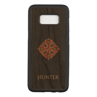Capa Carved Para Samsung Galaxy S8 Vermelho e madeira da cruz celta do ouro