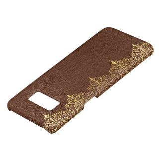 Capa Case-Mate Samsung Galaxy S8 Beira floral No.3 do ouro do couro do vintage de