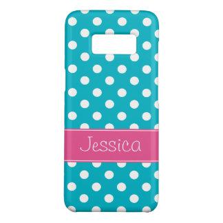 Capa Case-Mate Samsung Galaxy S8 Bolinhas azuis formais do rosa e da cerceta