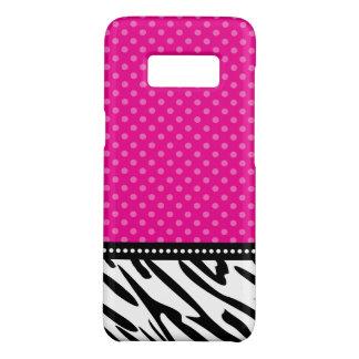 Capa Case-Mate Samsung Galaxy S8 Bolinhas da zebra do rosa quente e do preto