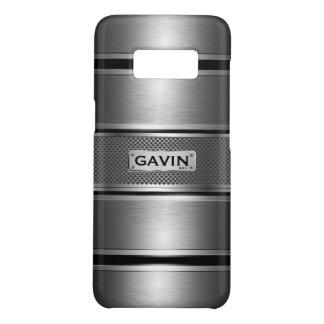 Capa Case-Mate Samsung Galaxy S8 Cinzas metálicas & teste padrão geométrico preto 2