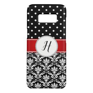 Capa Case-Mate Samsung Galaxy S8 Galáxia vermelha do monograma do damasco branco
