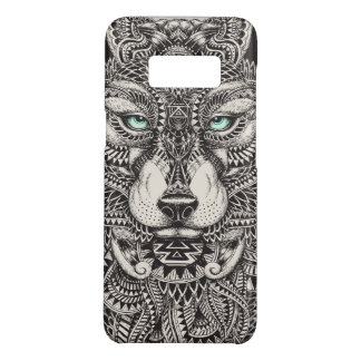 Capa Case-Mate Samsung Galaxy S8 Ilustração tribal da cabeça preta do lobo