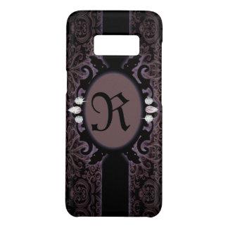 Capa Case-Mate Samsung Galaxy S8 monograma gótico roxo da ameixa preta do steampunk