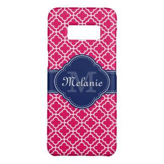 Capa Case-Mate Samsung Galaxy S8 Monograma marroquino branco cor-de-rosa do marinho