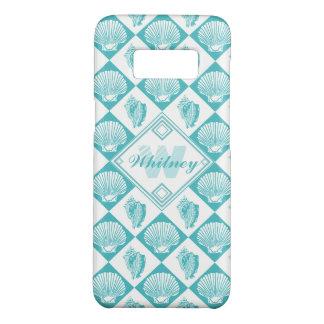 Capa Case-Mate Samsung Galaxy S8 Monograma náutico da praia do diamante azul do