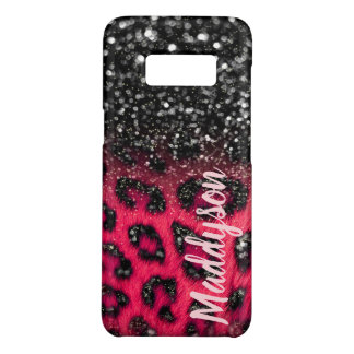 Capa Case-Mate Samsung Galaxy S8 O leopardo preto cor-de-rosa do brilho do falso