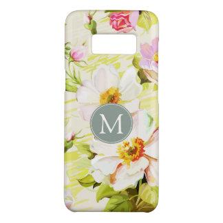 Capa Case-Mate Samsung Galaxy S8 O monograma floral Samsung das peônias dos rosas
