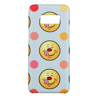 Capa Case-Mate Samsung Galaxy S8 O smiley feliz & as bolinhas personalizam o fundo
