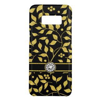 Capa Case-Mate Samsung Galaxy S8 Ouro & monograma preto do teste padrão das folhas