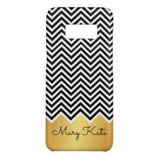 Capa Case-Mate Samsung Galaxy S8 Preto e monograma moderno do costume de Chevron do