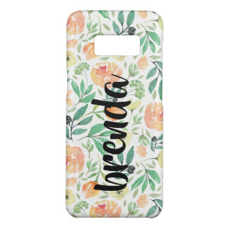 Capa Case-Mate Samsung Galaxy S8 Teste padrão de flores do pêssego & monograma da
