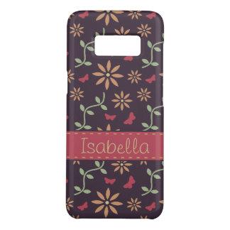 Capa Case-Mate Samsung Galaxy S8 Teste padrão floral do vetor do vintage com nome