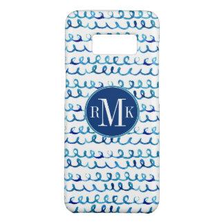 Capa Case-Mate Samsung Galaxy S8 Teste padrão ondulado da aguarela azul pintado mão