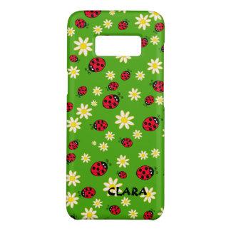 Capa Case-Mate Samsung Galaxy S8 verde bonito do teste padrão de flor do joaninha e