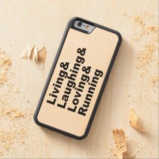 Capa De Bordo Bumper Para iPhone 6 Living&Laughing&Loving&RUNNING (preto)