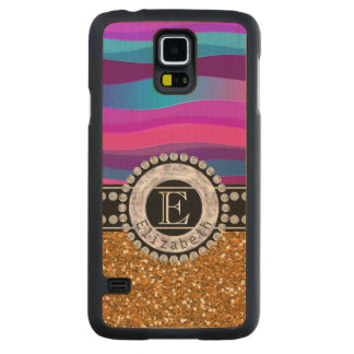 Capa De Bordo Para Galaxy S5 Azul cor-de-rosa feminino, brilho do ouro,