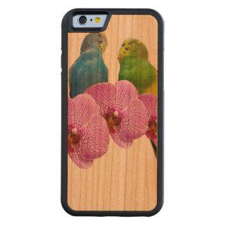 Capa De Cerejeira Bumper Para iPhone 6 Budgie com orquídea roxa