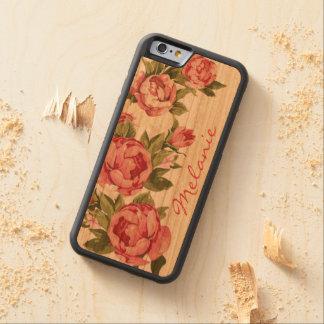 Capa De Cerejeira Bumper Para iPhone 6 O vintage personalizado cora peônias cor-de-rosa