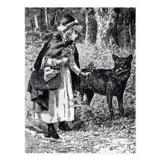 Capa de equitação vermelha do vintage nas madeiras cartão postal