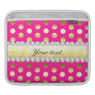 Capa De iPad Diamantes das bolinhas da folha de ouro do rosa