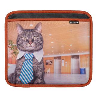 Capa de ipad do gato do negócio