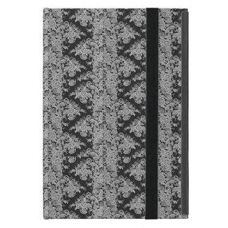 Capa de ipad fina floral preta da textura do laço