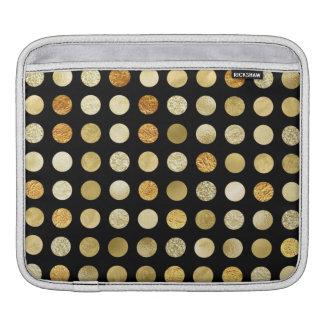 Capa De iPad Folha de ouro e preto das bolinhas do brilho