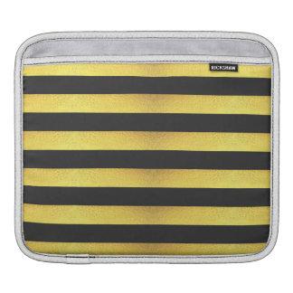Capa De iPad Listras modernas do preto da folha de ouro do