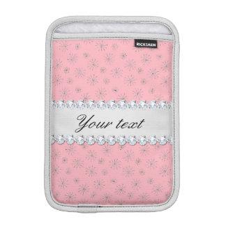 Capa De iPad Mini Rosa de prata chique dos flocos de neve do brilho