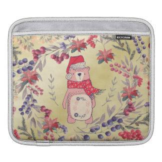 Capa De iPad Ouro das bagas da aguarela do urso do Natal